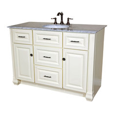 50 Inch Single Sink Vanity-Heirloom White