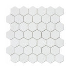 "Thassos Marble Hexagon Tile, Polished, 12""x12"""