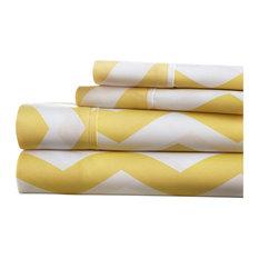 Home Collection Premium 4-Piece Arrow Bed Sheet Set, Yellow, Queen