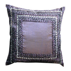 "3D Antique Sequins 12""x12"" Art Silk Purple Pillows Cover, Purple Glamor"