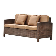 Pemberly Row Resin Patio Sofa in Brown and Coffee