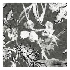Fabric Sample Garden Party Ink Floral Gray Cotton Linen