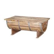Rustic Pioneer Mango Wood Standing Half Barrel Chest Coffee Table