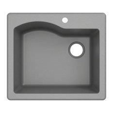 """Kraus Quarza 25"""" Drop-In Undermount Granite 1-Bowl Kitchen Sink, Gray"""