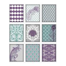 Modern Art Arrangement, Set of 9 Prints