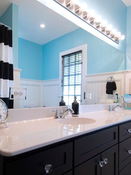 Salles de bains et wc romantiques avec un carrelage noir et blanc photos et id es d co de - Carrelage salle de bain romantique ...