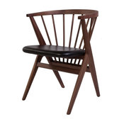 Wooden Spindle Chair, Walnut and Black
