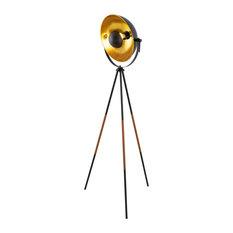 "Kira Home Sulis 58"" Tripod LED Floor Lamp, Black Finish, Leather Wrapped Legs"