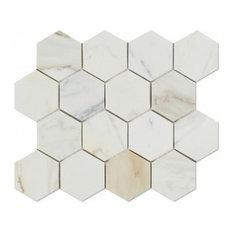 "WhiteMarbleTiles (WMT) - 3"" Calacatta Gold Marble Hexagon Mosiac Tile, Honed, 12x12 Mosiac Tile - Mosaic Tile"