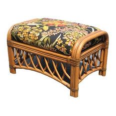 Montego Bay Ottoman, Cinnamon, Glamour Indigo Fabric