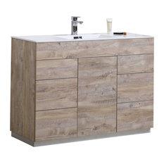 "Milano 48"" Floor Mount Modern Bathroom Vanity, Nature Wood, 48"", Milano"