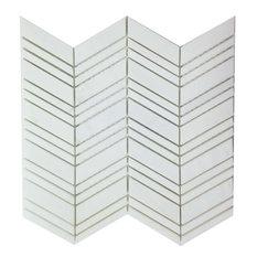 "Bianco Dolomite Chevron Honed Tile, 12""x12"""