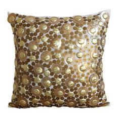 3D Gold Sequins 30x30 Art Silk Gold Cushion Covers, Gold Disco Balls
