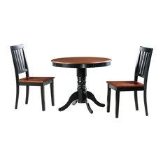 3-Piece Brookline Dinette Dining Room Table Set Black/Cherry