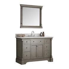 "Fresca Kingston 48"" Antique Silver Traditional Bathroom Vanity With Mirror"