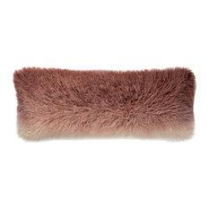 "Ombre Fade Faux Fur Blush Ivory Decorative Accent Pillow, 13""x35"", No Fill"