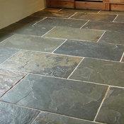 Grey green slate floor