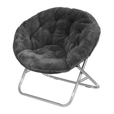 Faux Fur Saucer Chair Metal Frame Opens-Folds in Seconds for Easy Storage, Black
