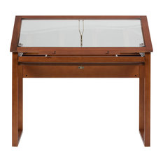 Studio Designs Home Office Ponderosa Glass Topped Table, Sonoma Brown
