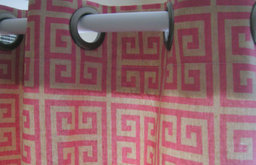 Shower Curtain Towers Pink And Taupe Greek Key By Elisabeth Michael