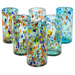 NOVICA - Sky Rainbow Raindrops, Set of 6 Blown Glass Tumblers, Mexico - Sky blue tumblers are wildly speckled with multiple colors in a design by Javier and Efr'n. Each glass is individually crafted by hand with millenary blown glass techniques infused with Mexican artistry. The set includes six glasses, each one unique.