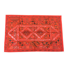Mogulinterior - Indian Vintage Style Red Sari Tapestry with Miror Patchwork Wall Decor Throw - Tapestries