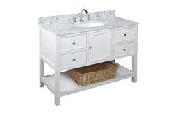 "New Yorker Bath Vanity, Base: White, 48"", Top: Carrara Marble"