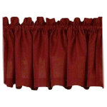 Ribcord Solid Wine Kitchen Curtain, Valance - The Ribcord Wine Kitchen Curtains are solid with vertical ribbing and provide some privacy along with style. The picture shows: one swag (pair) + one valance in between over one tier (pair). The 100% polyester fabric is machine washable.