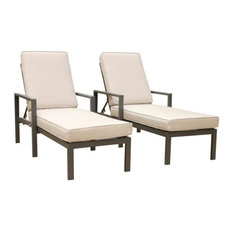 Parmer Patio Adjustable Aluminum Pool Chaise With Cushions , Set of2, Cast Silve
