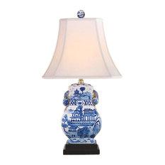 "Blue and White Blue Willow Porcelain Rectangular Vase Table Lamp 20.5"""