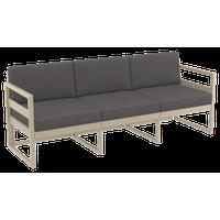 Mykonos Patio Sofa Taupe With Acrylic Fabric Charcoal Cushion