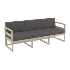 Mykonos Patio Sofa Taupe with Sunbrella Charcoal Cushion