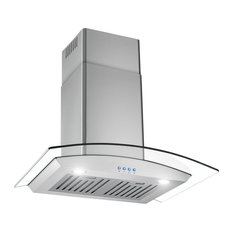 "Stainless Steel and Glass Range Hood 30"" With LED Buttons"