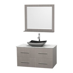 "Centra 42"" Gray Oak Vanity, Carrera Marble Top, 36"" Mirror, Altair Black Granite"