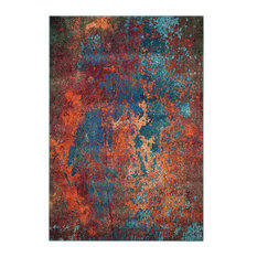 "Nourison Celestial Contemporary Area Rug, Rust and Blue, 7'10""x10'6"""