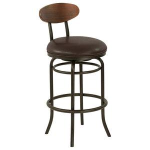 "Kamden 30"" Bar Metal Swivel Bar Stool, Ford Brown Leather/Sedona Wood"