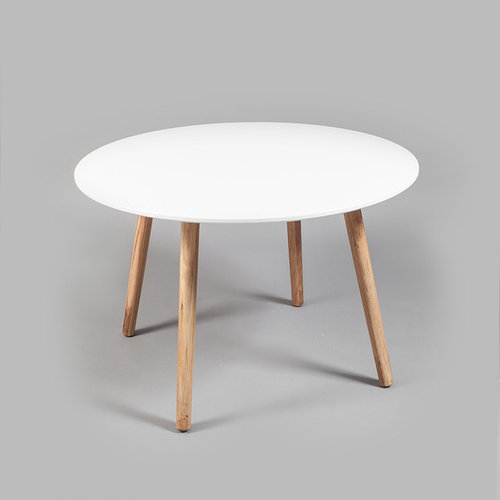 Ray Matbord Ø 110 cm, Vit/Ek - Spiseborde