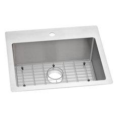 Elkay Crosstown Stainless Steel 1-Bowl Dual Mount Sink Kit, Faucet Holes: 1