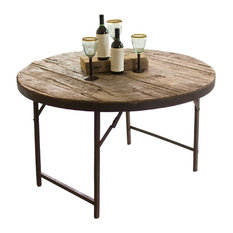 Kalalou   Wooden Round Folding Tent Table   Folding Tables