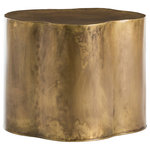 Arteriors - Lowry End & Side Tables, Antique Brass - We love the irregular shape of this antique brass low side table. Try it next to a chaise or armless chair or use two in front of a sofa or sectional. Can also be turned upside down as a planter.