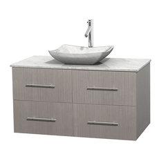 "Wyndham Collection - Single Bathroom Vanity With Sink, Gray Oak, White Carrera Marble Countertop, 42"" - Bathroom Vanities and Sink Consoles"
