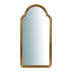 Solid Wood Arched Wall Mirror, Gold Leaf, 40x79 cm