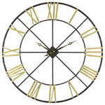 """Aspire - Baldwin Oversized Metal Wall Clock, 48"""" - With it's massive four foot size and stunning design, the Baldwin Wall Clock is a truly impressive decor. Boasting an open design crafted from iron, this clock features a charcoal distressed finish contrasted by painted gold roman numerals. If you are looking for a showpiece to hang on an open wall, you can't go wrong with this exceptional clock."""