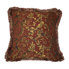 "Large Floral Fringe Pillow, Handmade, Rust and Gold, 21""x21"""