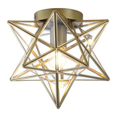"Stella 12"" Moravian Star Metal/Glass LED Flush Mount, Oil Rubbed Bronze, Gold"