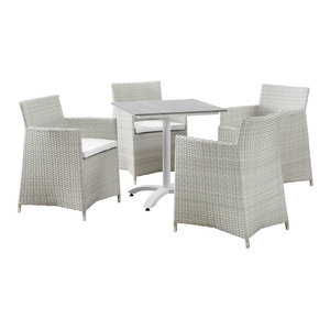 EastEnd 5-Piece Junction Outdoor Patio Dining Set, White Poly Rattan EastEnd