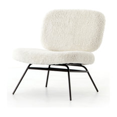"""28"""" L Amantzi Accent Chair Ivory Angora Occasional Fur Iron Waxed Black"""