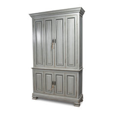 89-inch T Cupboard Solid Pine Wood Metal Keys & Escutcheons Double Hinged Doors