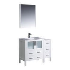 "Fresca Torino 42"" White Modern Bathroom Vanity, Side Cabinet & Integrated Sink"
