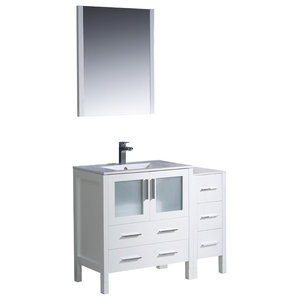 "Fresca Torino 42"" White Modern Bathroom Vanity, Side Cabinet & Integrated Sink"
